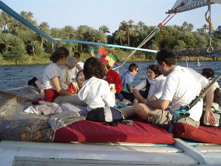 Onboard of Nile Felucca on the Nile